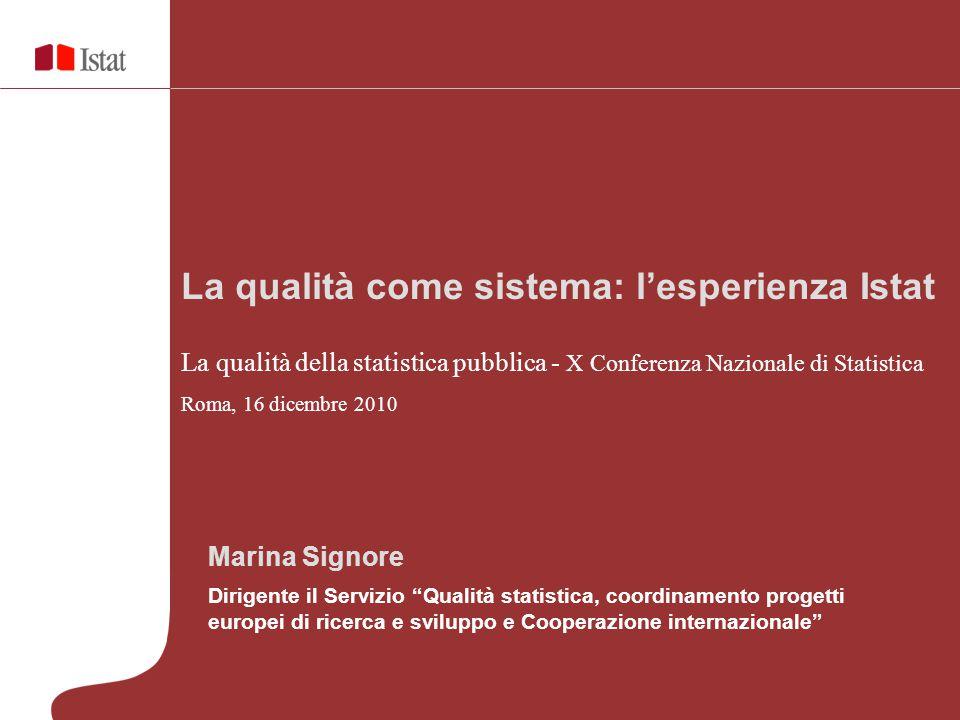 Marina Signore Dirigente il Servizio Qualità statistica, coordinamento progetti europei di ricerca e sviluppo e Cooperazione internazionale La qualità come sistema: l'esperienza Istat La qualità della statistica pubblica - X Conferenza Nazionale di Statistica Roma, 16 dicembre 2010