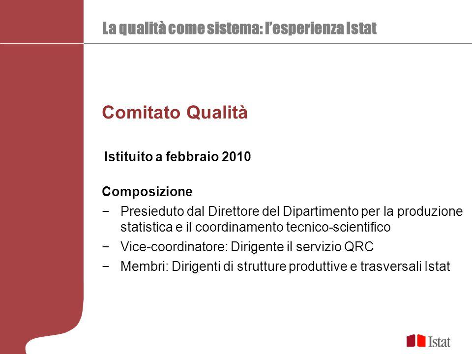 La qualità come sistema: l'esperienza Istat Comitato Qualità Composizione −Presieduto dal Direttore del Dipartimento per la produzione statistica e il