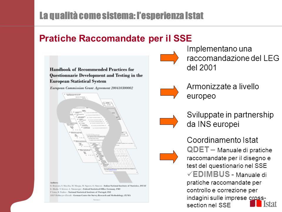 La qualità come sistema: l'esperienza Istat Implementano una raccomandazione del LEG del 2001 Armonizzate a livello europeo Sviluppate in partnership