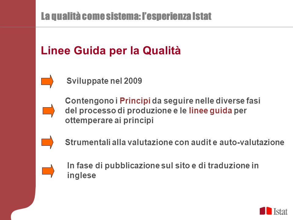 La qualità come sistema: l'esperienza Istat Linee Guida per la Qualità Sviluppate nel 2009 Contengono i Principi da seguire nelle diverse fasi del pro