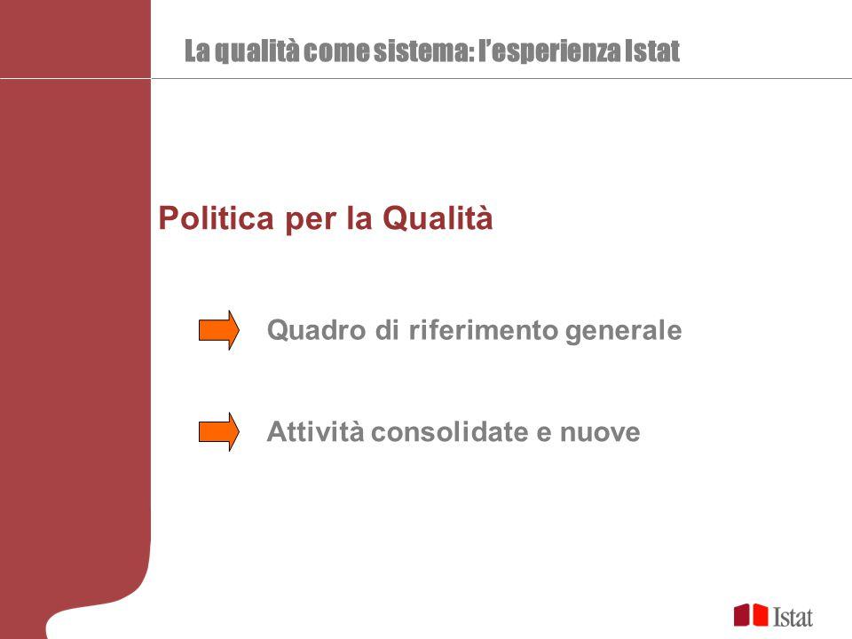 La qualità come sistema: l'esperienza Istat Politica per la Qualità Attività consolidate e nuove Quadro di riferimento generale