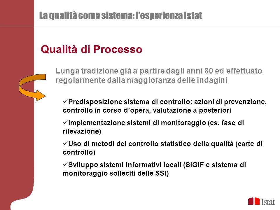 La qualità come sistema: l'esperienza Istat Qualità di Processo Lunga tradizione già a partire dagli anni 80 ed effettuato regolarmente dalla maggiora