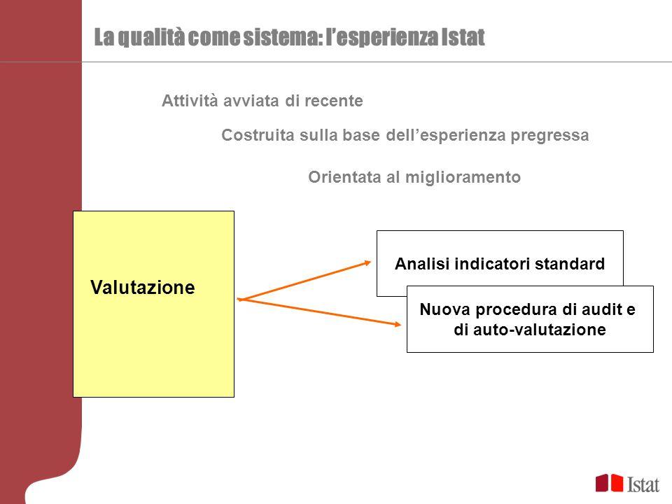 La qualità come sistema: l'esperienza Istat Costruita sulla base dell'esperienza pregressa Attività avviata di recente Analisi indicatori standard Valutazione Orientata al miglioramento Nuova procedura di audit e di auto-valutazione