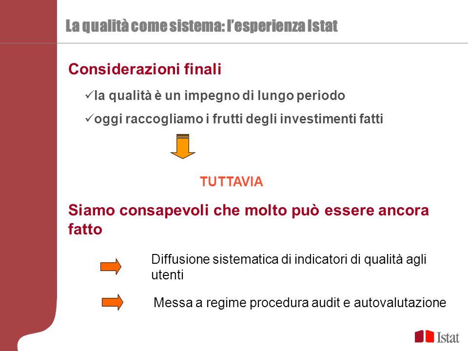 La qualità come sistema: l'esperienza Istat Considerazioni finali la qualità è un impegno di lungo periodo oggi raccogliamo i frutti degli investiment