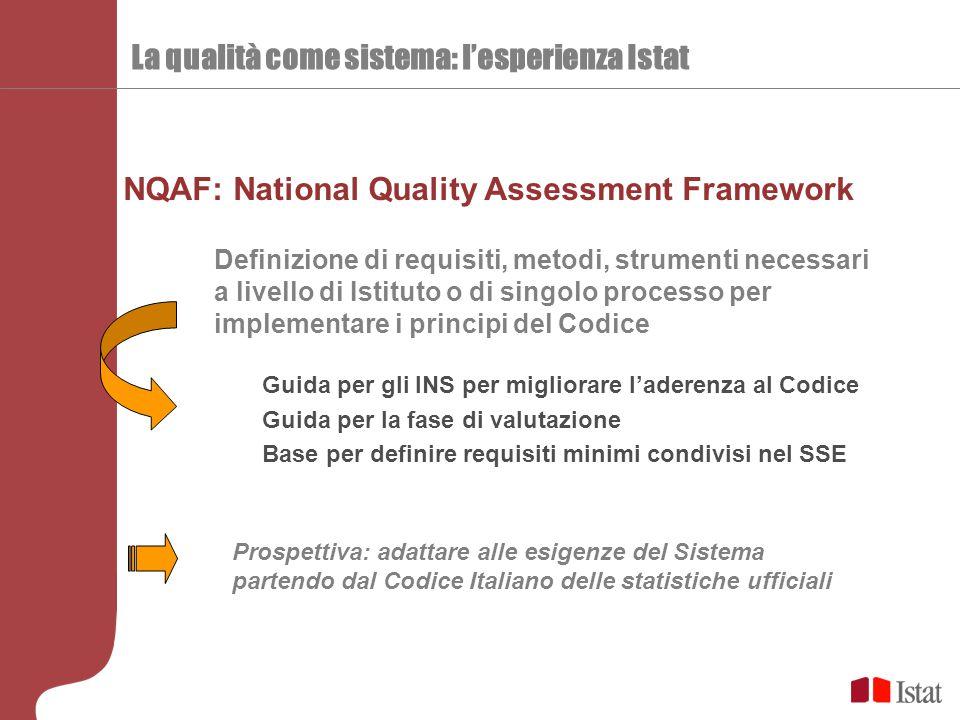 NQAF: National Quality Assessment Framework La qualità come sistema: l'esperienza Istat Guida per gli INS per migliorare l'aderenza al Codice Guida per la fase di valutazione Base per definire requisiti minimi condivisi nel SSE Prospettiva: adattare alle esigenze del Sistema partendo dal Codice Italiano delle statistiche ufficiali Definizione di requisiti, metodi, strumenti necessari a livello di Istituto o di singolo processo per implementare i principi del Codice