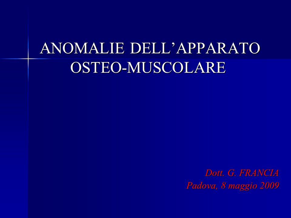 Acondroplasia Acondroplasia Definizione: due sottotipi - Omozigote - Eterozigote - Eterozigote Eziologia : mutazione gene codificante per Fibroblast Growth factor receptor Incidenza : relativamente frequente (1/10.000 nati) Diagnosi: Rizomielia (26-28 s.g.) Rizomielia (26-28 s.g.) Tendenza alla macrocrania Tendenza alla macrocrania Naso insellato Naso insellato Mano a tridente Mano a tridente Outcome: sopravvivenza e performance mentale nella norma, problematiche ortopediche e polmonari a lungo termine