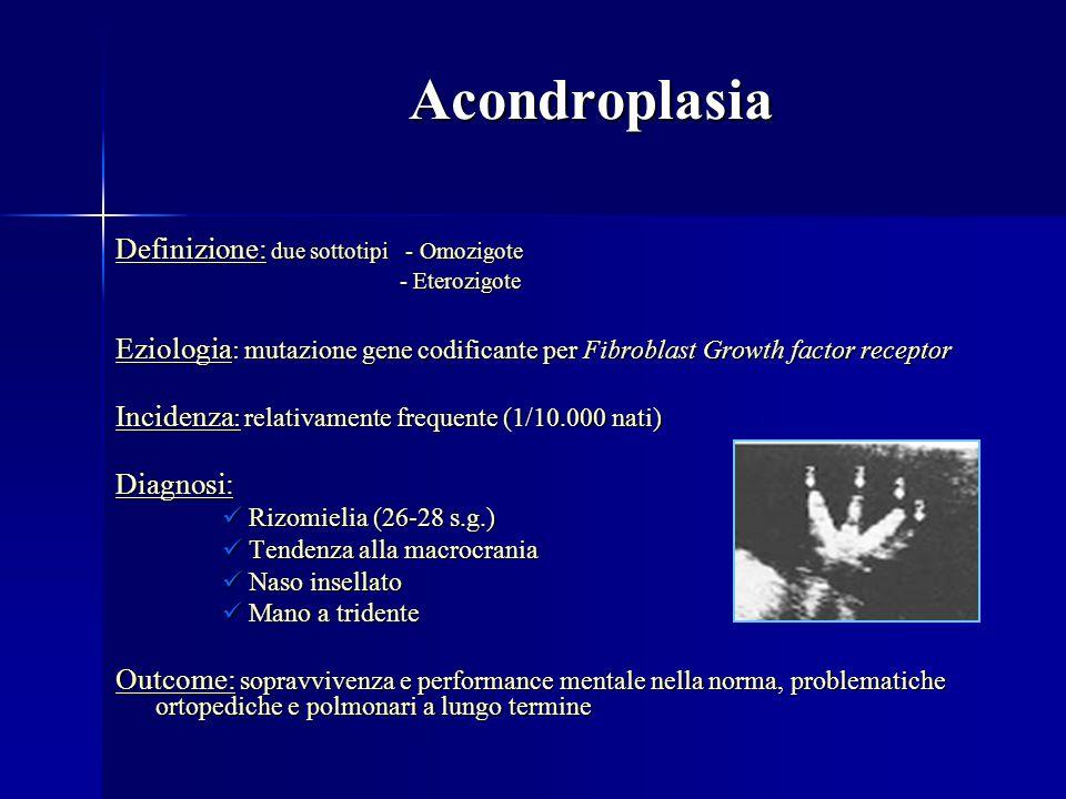 Acondroplasia Acondroplasia Definizione: due sottotipi - Omozigote - Eterozigote - Eterozigote Eziologia : mutazione gene codificante per Fibroblast G