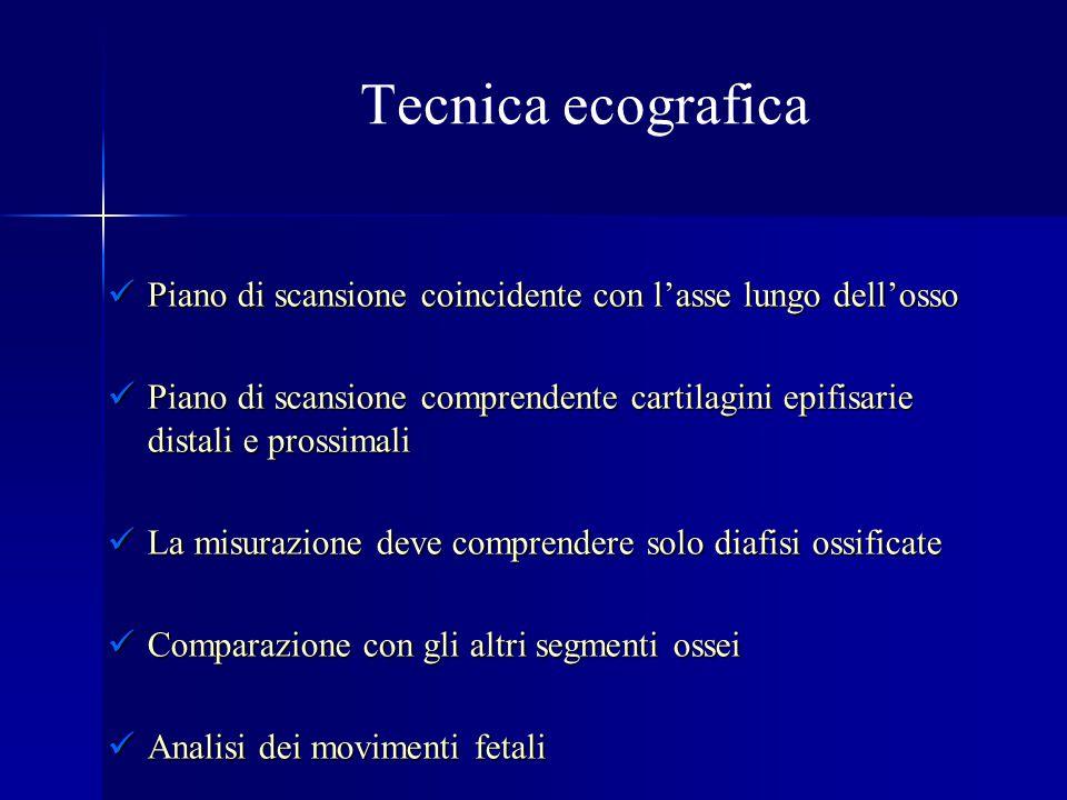 Osteogenesi imperfetta Definizione: comprende un gruppo eterogeneo di patologie congenite caratterizzate da estrema fragilità ossea (quattro tipi) Eziologia : mutazione dei geni codificanti per collagene tipo I Incidenza: relativamente frequente (0.4/10.000) di cui la metà è costituita dal tipo II Diagnosi: Fratture Fratture Ipoplasia toracica Ipoplasia toracica Ipomineralizzazione Ipomineralizzazione Incurvatura delle ossa Incurvatura delle ossa Outcome : letale nel tipo II compatibile con la vita nel tipo III (handicap motorio medio-severo) compatibile con la vita nel tipo III (handicap motorio medio-severo)