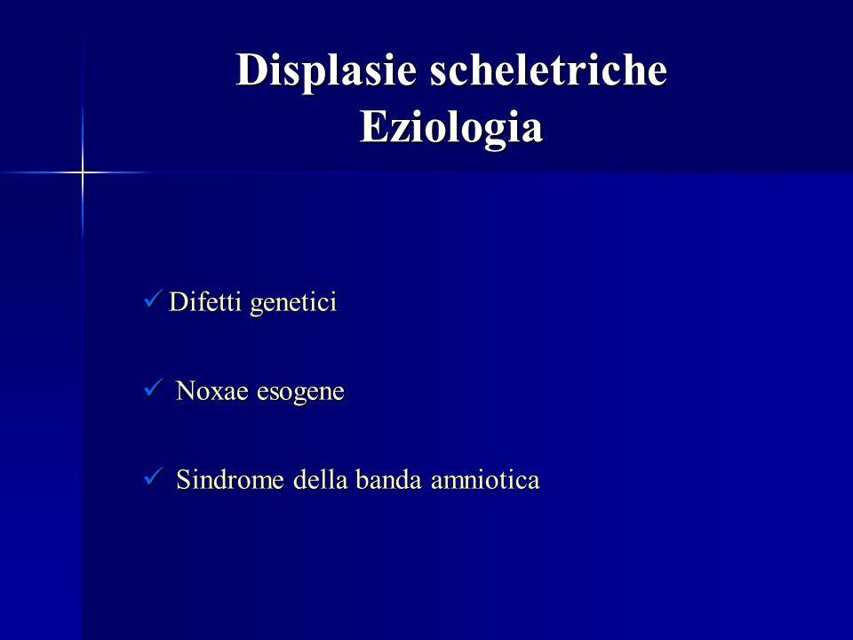 Displasie scheletriche Eziologia Difetti genetici Difetti genetici Noxae esogene Noxae esogene Sindrome della banda amniotica Sindrome della banda amn