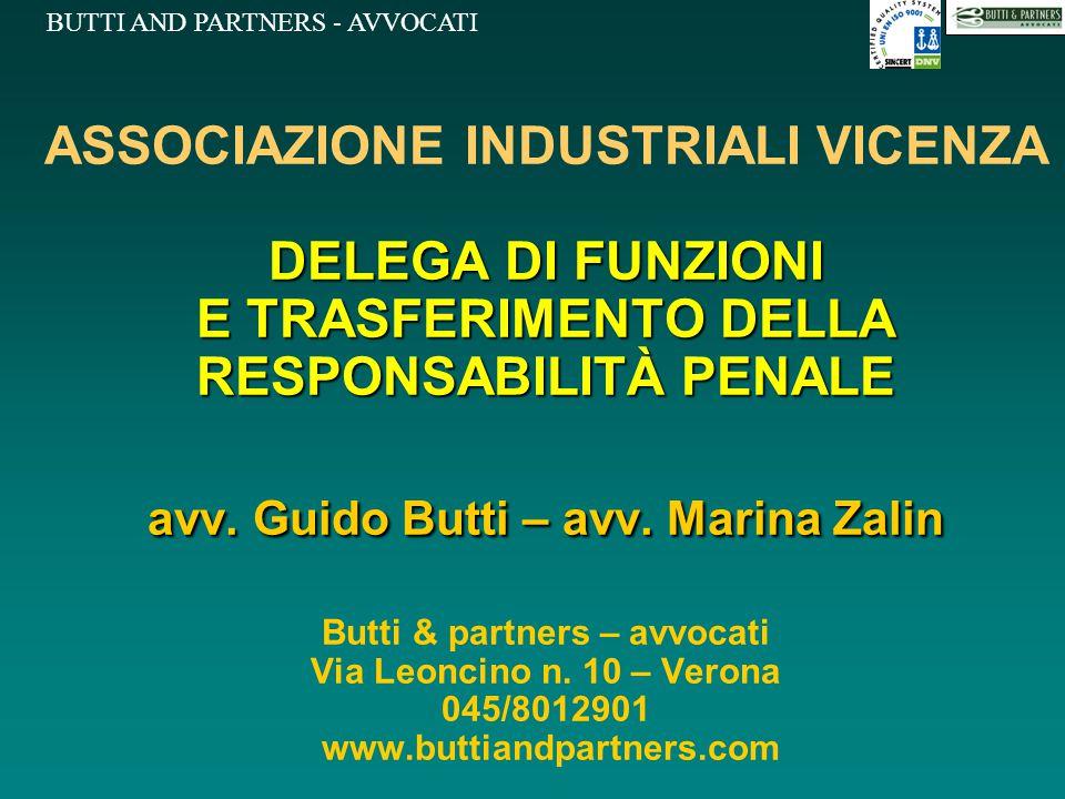 BUTTI AND PARTNERS - AVVOCATI DELEGA DI FUNZIONI E TRASFERIMENTO DELLA RESPONSABILITÀ PENALE avv. Guido Butti – avv. Marina Zalin ASSOCIAZIONE INDUSTR