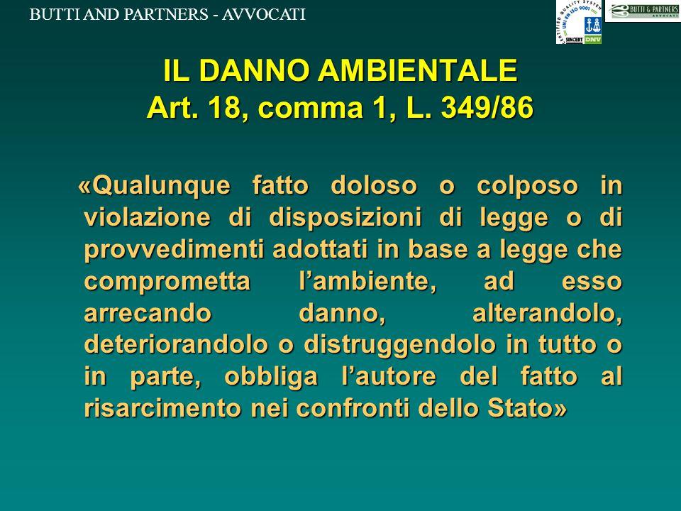 BUTTI AND PARTNERS - AVVOCATI IL DANNO AMBIENTALE Art. 18, comma 1, L. 349/86 «Qualunque fatto doloso o colposo in violazione di disposizioni di legge