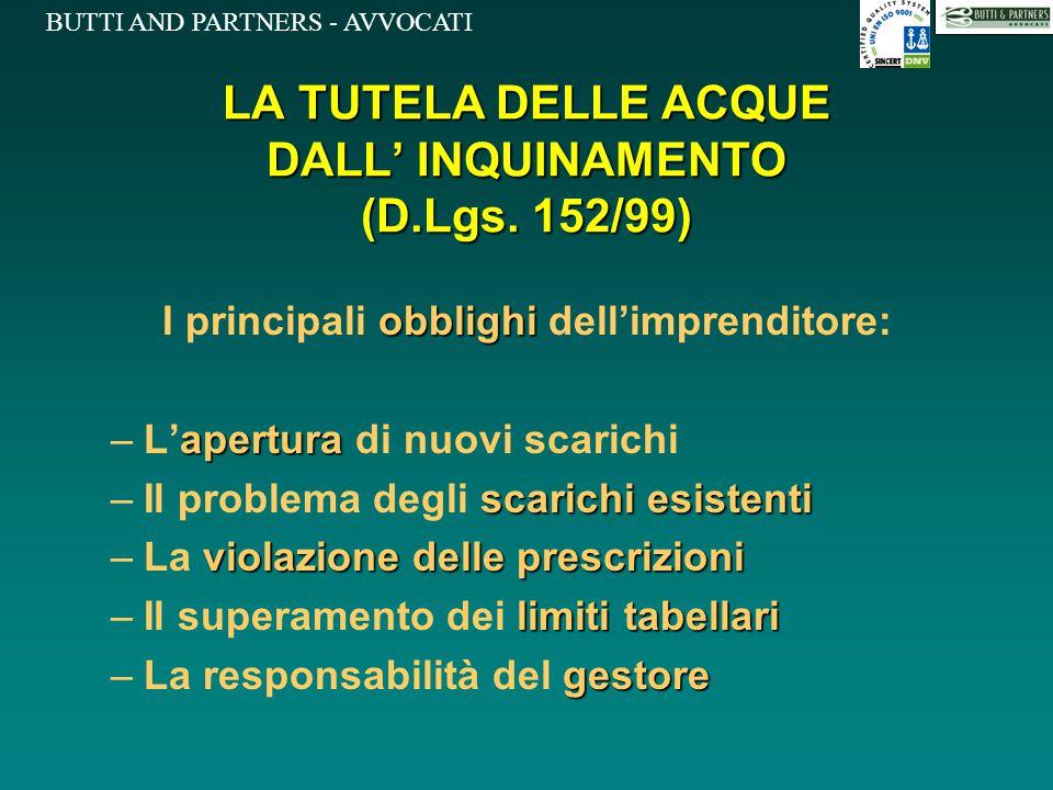 BUTTI AND PARTNERS - AVVOCATI LA TUTELA DELLE ACQUE DALL' INQUINAMENTO (D.Lgs. 152/99) obblighi I principali obblighi dell'imprenditore: apertura –L'a