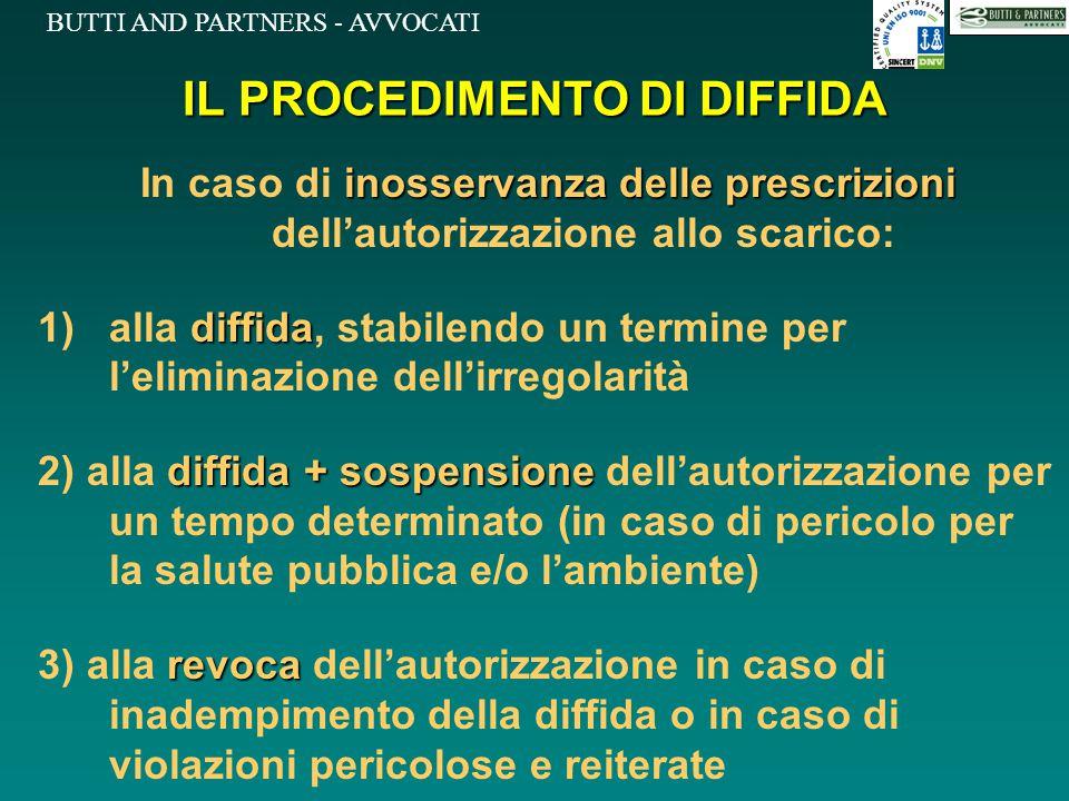 BUTTI AND PARTNERS - AVVOCATI IL PROCEDIMENTO DI DIFFIDA inosservanza delle prescrizioni In caso di inosservanza delle prescrizioni dell'autorizzazion
