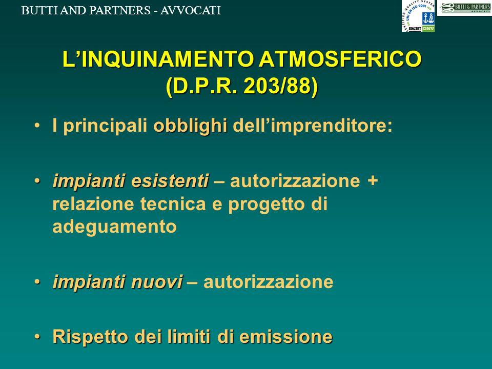 BUTTI AND PARTNERS - AVVOCATI L'INQUINAMENTO ATMOSFERICO (D.P.R. 203/88) obblighiI principali obblighi dell'imprenditore: impianti esistentiimpianti e