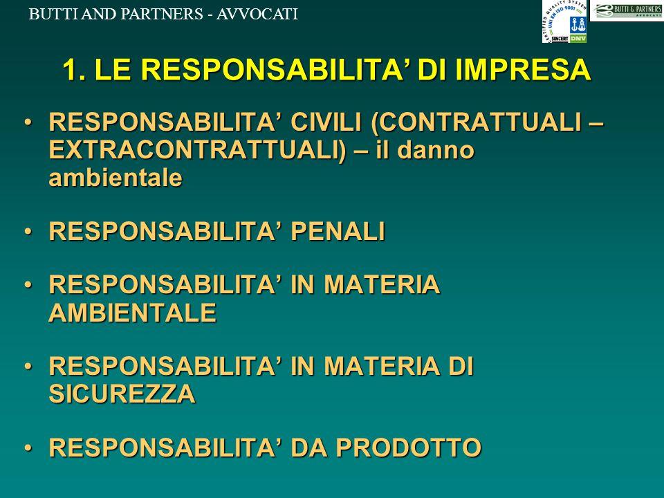 BUTTI AND PARTNERS - AVVOCATI 1. LE RESPONSABILITA' DI IMPRESA RESPONSABILITA' CIVILI (CONTRATTUALI – EXTRACONTRATTUALI) – il danno ambientaleRESPONSA