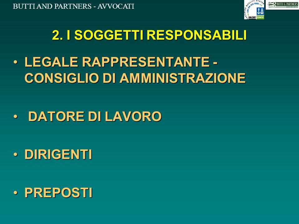 BUTTI AND PARTNERS - AVVOCATI 2. I SOGGETTI RESPONSABILI LEGALE RAPPRESENTANTE - CONSIGLIO DI AMMINISTRAZIONELEGALE RAPPRESENTANTE - CONSIGLIO DI AMMI