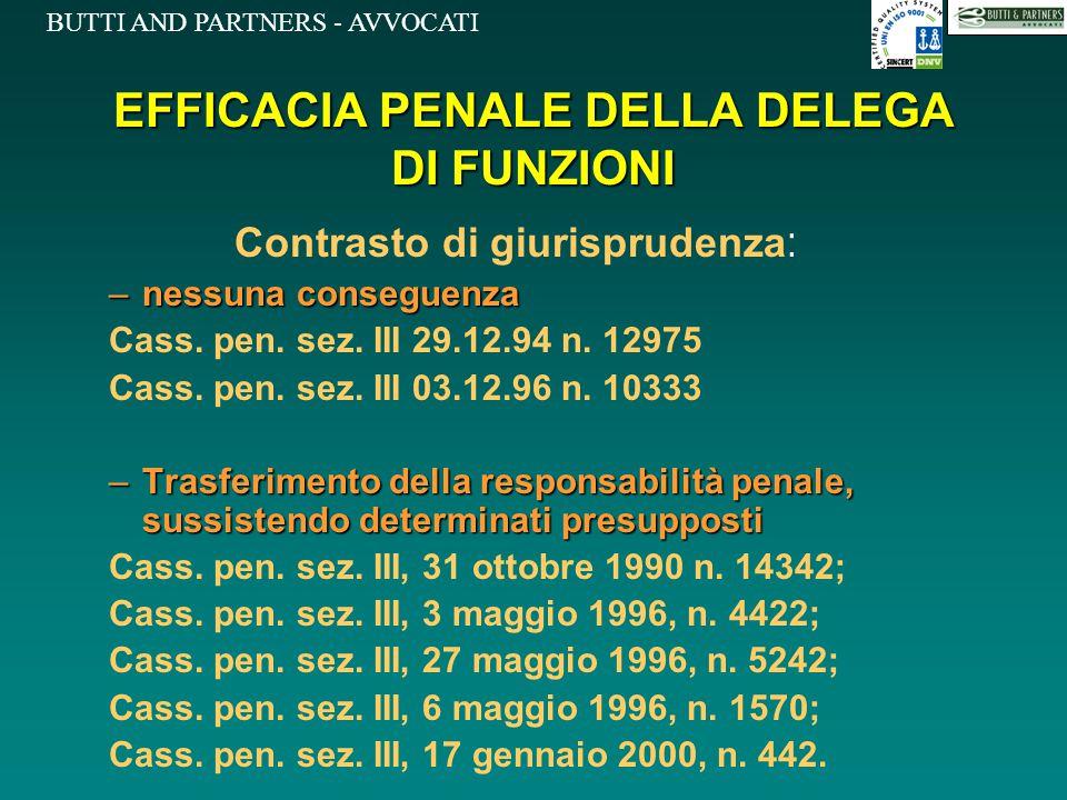 BUTTI AND PARTNERS - AVVOCATI EFFICACIA PENALE DELLA DELEGA DI FUNZIONI Contrasto di giurisprudenza : –nessuna conseguenza Cass. pen. sez. III 29.12.9