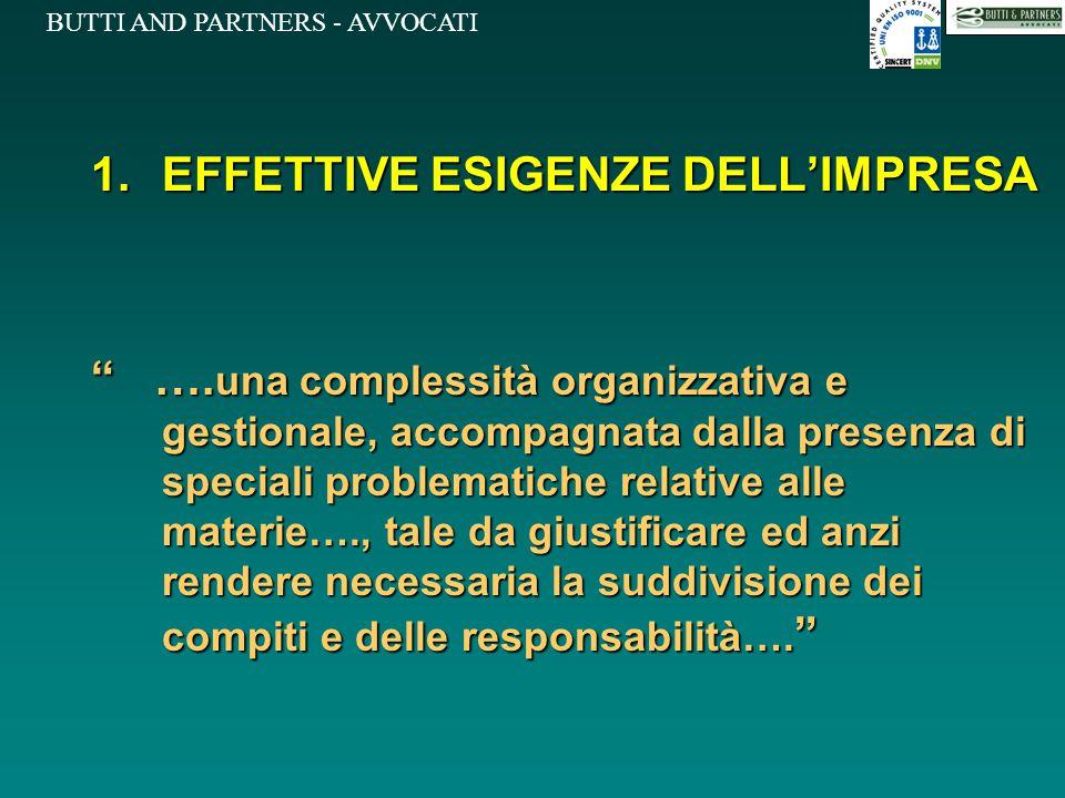 """BUTTI AND PARTNERS - AVVOCATI 1.EFFETTIVE ESIGENZE DELL'IMPRESA """" …. una complessità organizzativa e gestionale, accompagnata dalla presenza di specia"""
