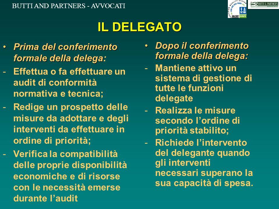 BUTTI AND PARTNERS - AVVOCATI IL DELEGATO Prima del conferimento formale della delegaPrima del conferimento formale della delega: -Effettua o fa effet