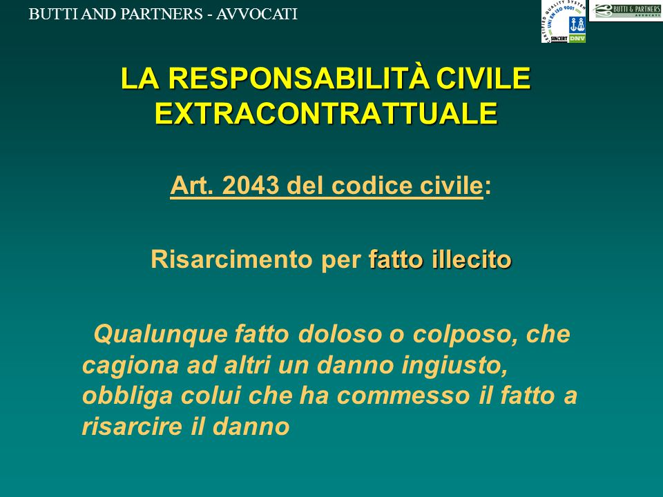 BUTTI AND PARTNERS - AVVOCATI LA RESPONSABILITÀ CIVILE EXTRACONTRATTUALE Art. 2043 del codice civile: fatto illecito Risarcimento per fatto illecito Q