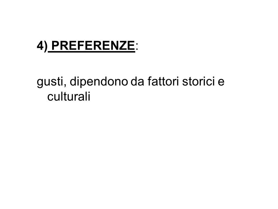 4) PREFERENZE: gusti, dipendono da fattori storici e culturali