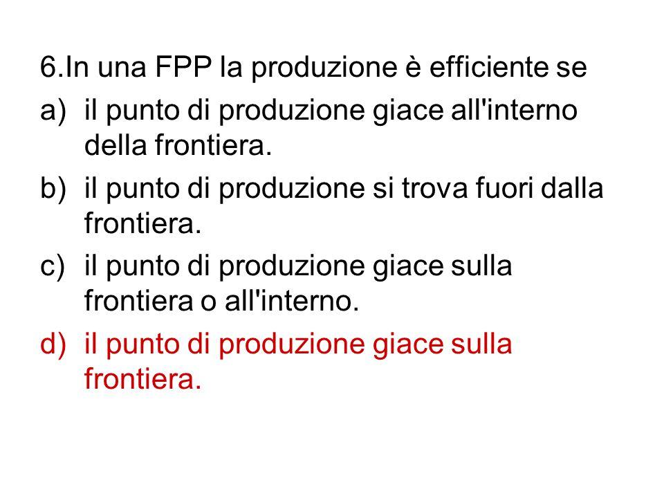 6.In una FPP la produzione è efficiente se a)il punto di produzione giace all'interno della frontiera. b)il punto di produzione si trova fuori dalla f