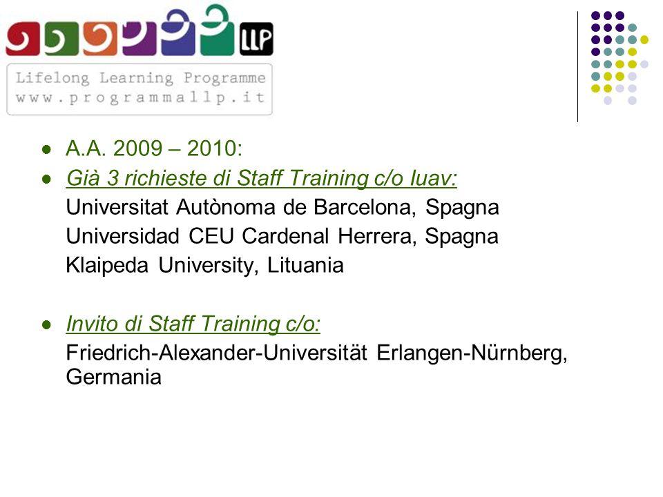 A.A. 2009 – 2010: Già 3 richieste di Staff Training c/o Iuav: Universitat Autònoma de Barcelona, Spagna Universidad CEU Cardenal Herrera, Spagna Klaip