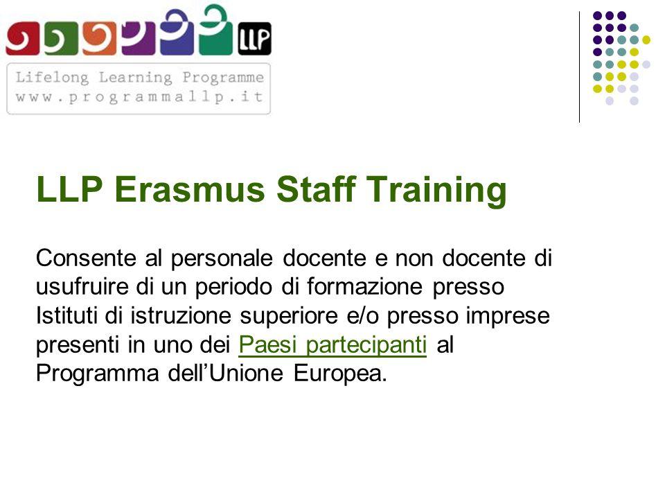 LLP Erasmus Staff Training Consente al personale docente e non docente di usufruire di un periodo di formazione presso Istituti di istruzione superiore e/o presso imprese presenti in uno dei Paesi partecipanti al Programma dell'Unione Europea.