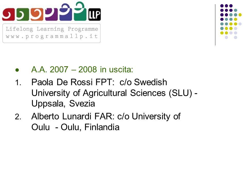 A.A. 2007 – 2008 in uscita: 1.