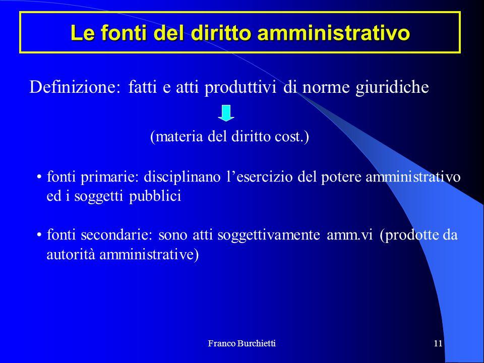 Franco Burchietti11 Le fonti del diritto amministrativo Definizione: fatti e atti produttivi di norme giuridiche (materia del diritto cost.) fonti pri