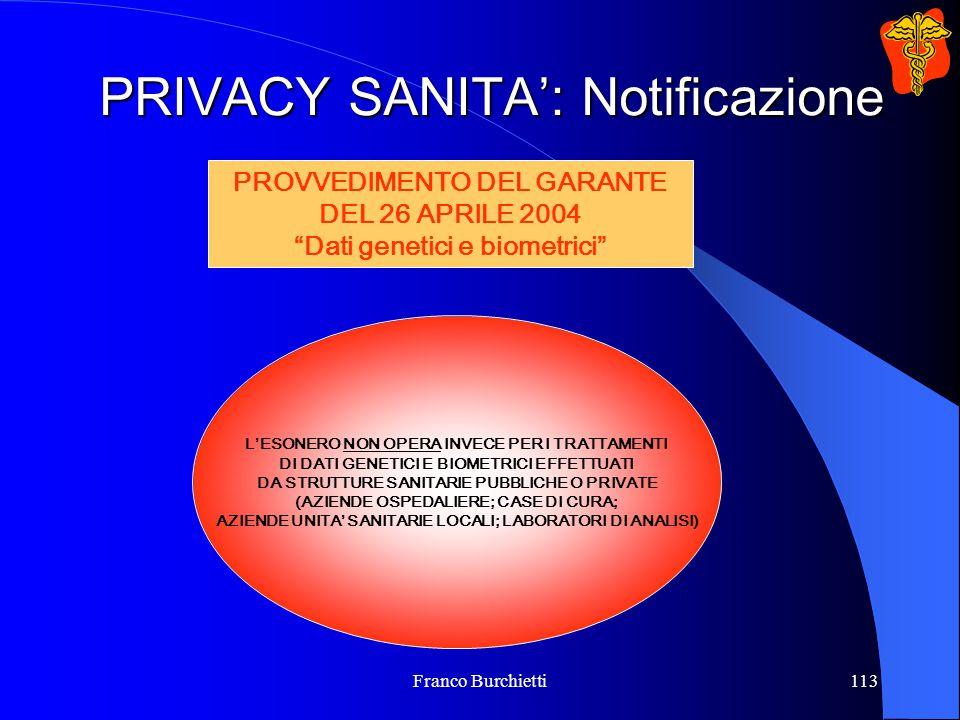 Franco Burchietti113 PRIVACY SANITA': Notificazione L'ESONERO NON OPERA INVECE PER I TRATTAMENTI DI DATI GENETICI E BIOMETRICI EFFETTUATI DA STRUTTURE