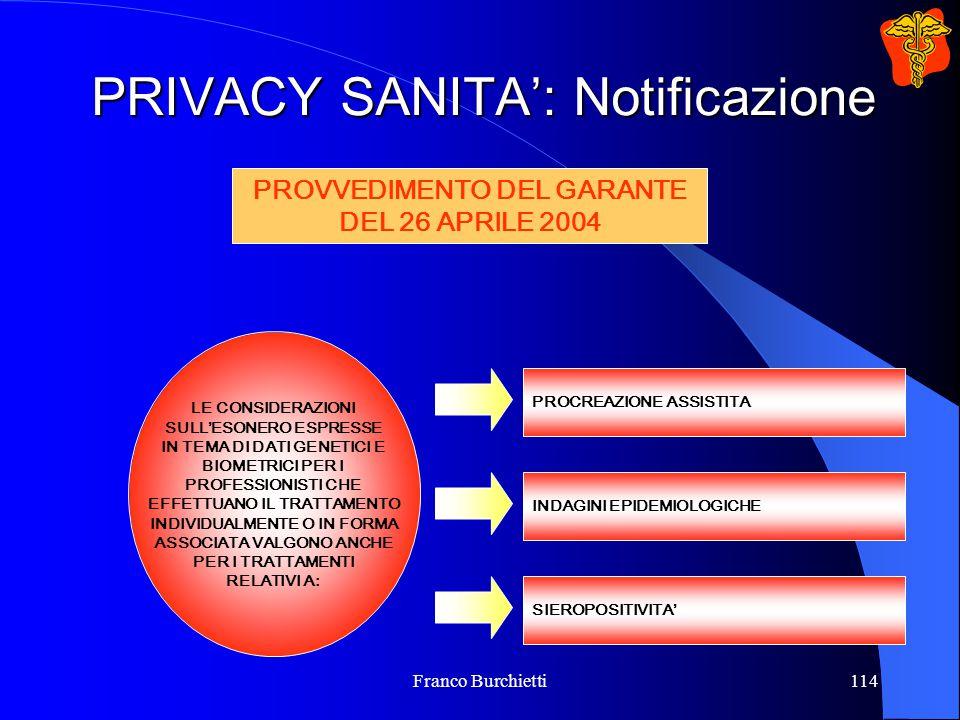 Franco Burchietti114 PRIVACY SANITA': Notificazione LE CONSIDERAZIONI SULL'ESONERO ESPRESSE IN TEMA DI DATI GENETICI E BIOMETRICI PER I PROFESSIONISTI