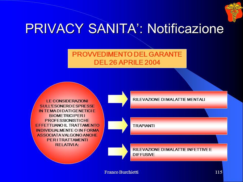 Franco Burchietti115 PRIVACY SANITA': Notificazione LE CONSIDERAZIONI SULL'ESONERO ESPRESSE IN TEMA DI DATI GENETICI E BIOMETRICI PER I PROFESSIONISTI