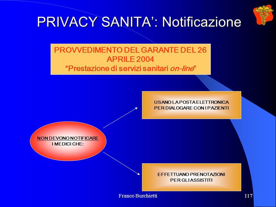 Franco Burchietti117 PRIVACY SANITA': Notificazione NON DEVONO NOTIFICARE I MEDICI CHE: USANO LA POSTA ELETTRONICA PER DIALOGARE CON I PAZIENTI EFFETT