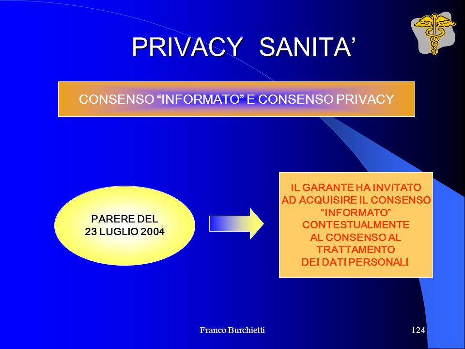 """Franco Burchietti124 PRIVACY SANITA' CONSENSO """"INFORMATO"""" E CONSENSO PRIVACY PARERE DEL 23 LUGLIO 2004 IL GARANTE HA INVITATO AD ACQUISIRE IL CONSENSO"""