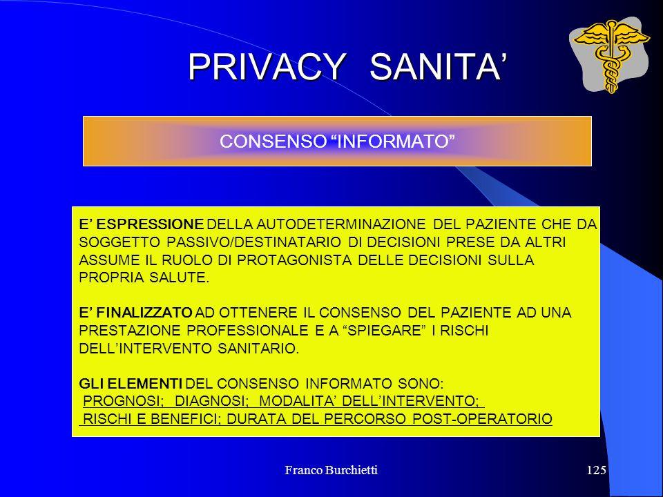"""Franco Burchietti125 PRIVACY SANITA' CONSENSO """"INFORMATO"""" E' ESPRESSIONE DELLA AUTODETERMINAZIONE DEL PAZIENTE CHE DA SOGGETTO PASSIVO/DESTINATARIO DI"""