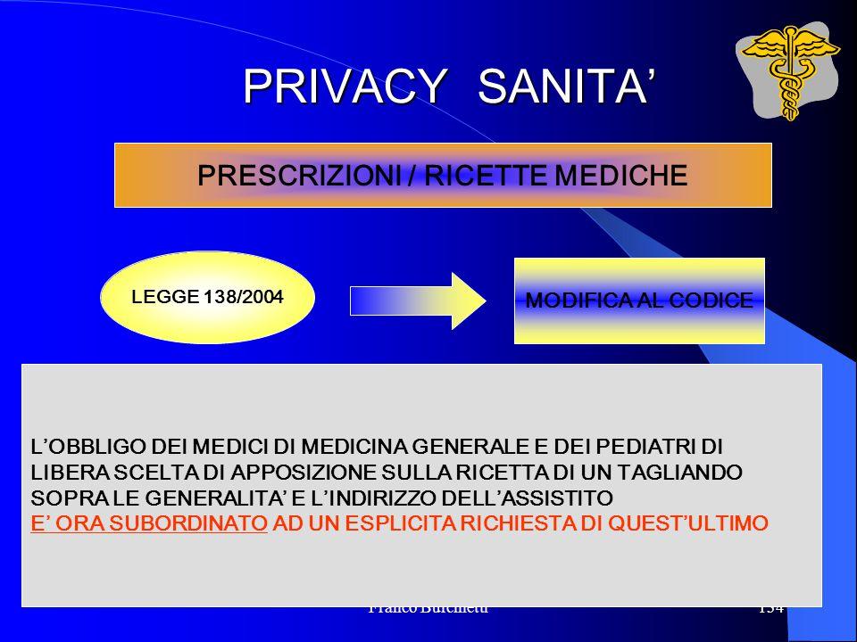 Franco Burchietti134 PRIVACY SANITA' PRESCRIZIONI / RICETTE MEDICHE LEGGE 138/2004 MODIFICA AL CODICE L'OBBLIGO DEI MEDICI DI MEDICINA GENERALE E DEI