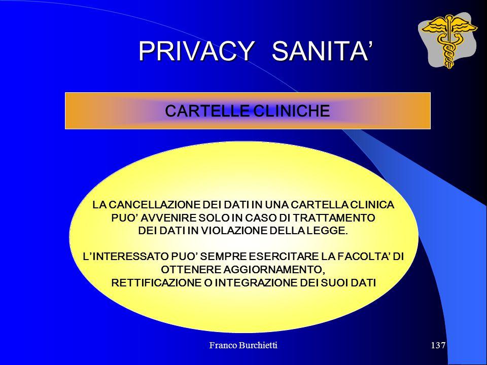 Franco Burchietti137 PRIVACY SANITA' CARTELLE CLINICHE LA CANCELLAZIONE DEI DATI IN UNA CARTELLA CLINICA PUO' AVVENIRE SOLO IN CASO DI TRATTAMENTO DEI