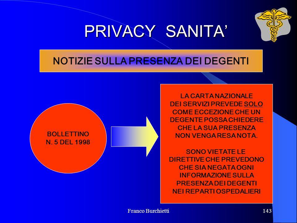 Franco Burchietti143 PRIVACY SANITA' NOTIZIE SULLA PRESENZA DEI DEGENTI BOLLETTINO N. 5 DEL 1998 LA CARTA NAZIONALE DEI SERVIZI PREVEDE SOLO COME ECCE