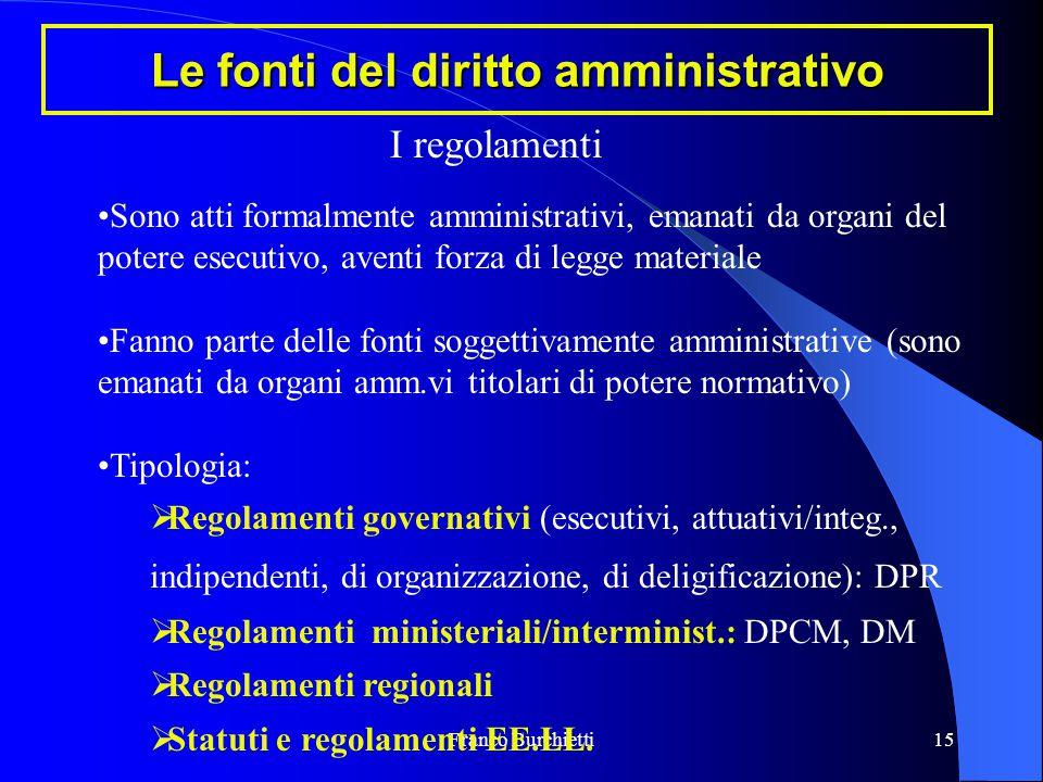 Franco Burchietti15 Le fonti del diritto amministrativo Sono atti formalmente amministrativi, emanati da organi del potere esecutivo, aventi forza di
