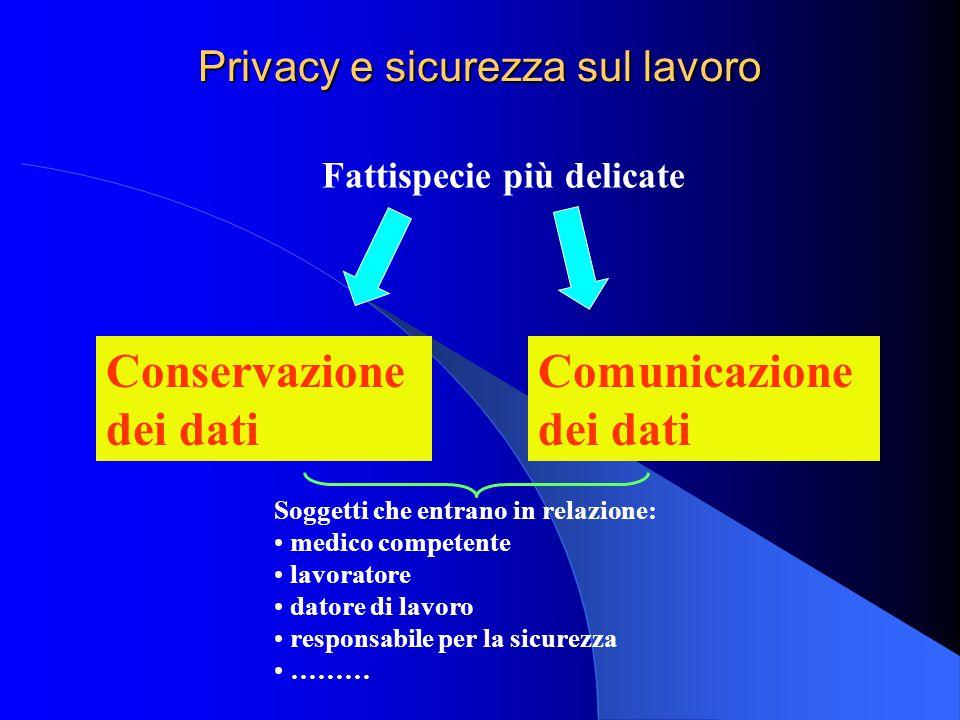 Privacy e sicurezza sul lavoro Fattispecie più delicate Conservazione dei dati Comunicazione dei dati Soggetti che entrano in relazione: medico compet