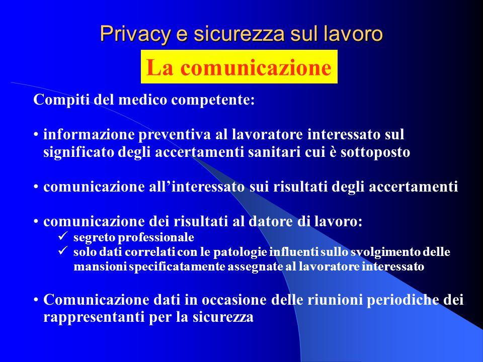 Privacy e sicurezza sul lavoro La comunicazione Compiti del medico competente: informazione preventiva al lavoratore interessato sul significato degli