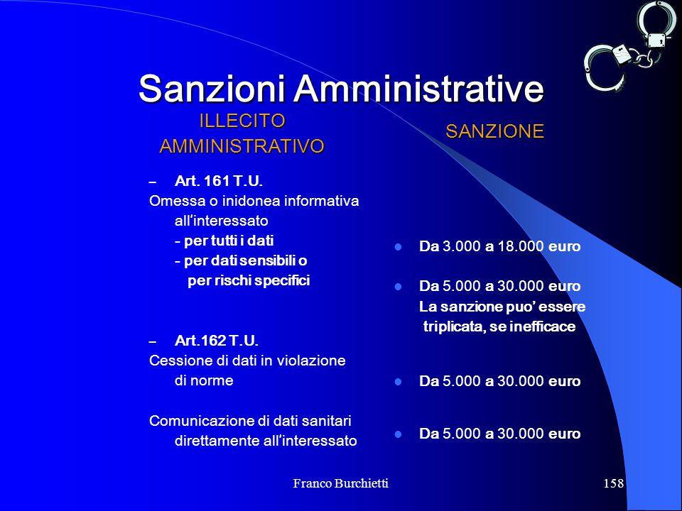 Franco Burchietti158 Sanzioni Amministrative ILLECITOAMMINISTRATIVO – Art. 161 T.U. Omessa o inidonea informativa all ' interessato - per tutti i dati