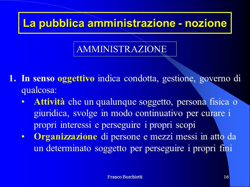 Franco Burchietti16 La pubblica amministrazione - nozione AMMINISTRAZIONE 1.In senso oggettivo indica condotta, gestione, governo di qualcosa: Attivit