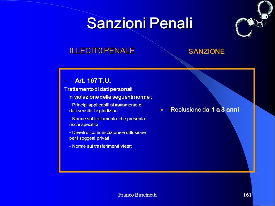 Franco Burchietti161 Sanzioni Penali  Reclusione da 1 a 3 anni - Principi applicabili al trattamento di dati sensibili e giudiziari - Norme sul tratt