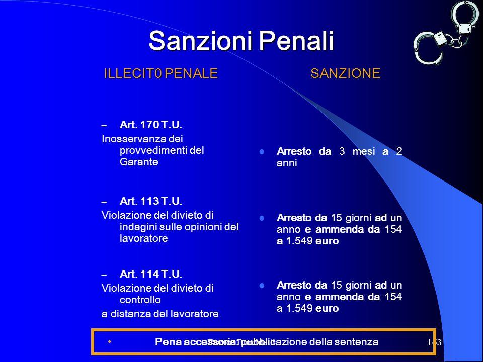 Franco Burchietti163 ILLECIT0 PENALE – Art. 170 T.U. Inosservanza dei provvedimenti del Garante – Art. 113 T.U. Violazione del divieto di indagini sul