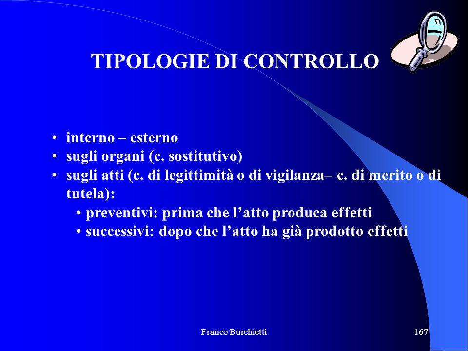 Franco Burchietti167 TIPOLOGIE DI CONTROLLO interno – esterno sugli organi (c. sostitutivo) sugli atti (c. di legittimità o di vigilanza– c. di merito