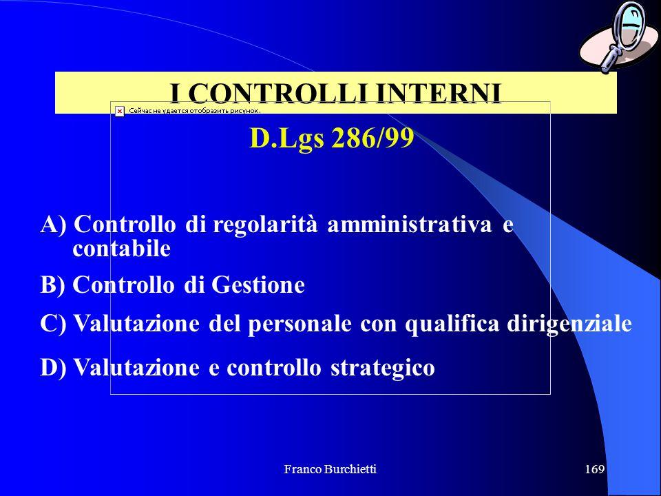 Franco Burchietti169 I CONTROLLI INTERNI A) Controllo di regolarità amministrativa e contabile B) Controllo di Gestione C) Valutazione del personale c