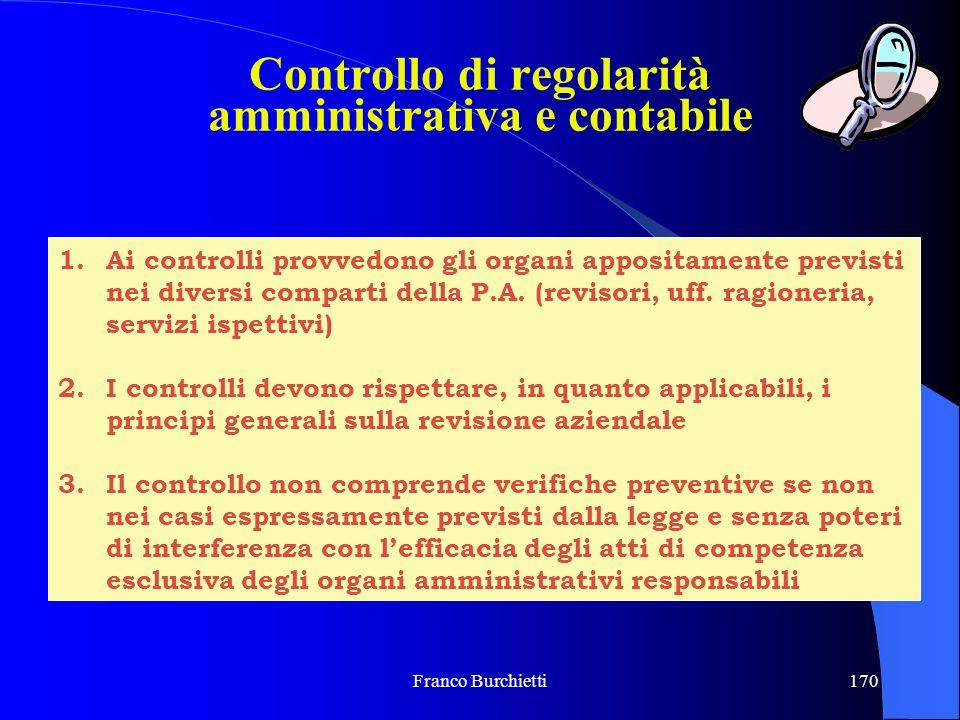 Franco Burchietti170 1.Ai controlli provvedono gli organi appositamente previsti nei diversi comparti della P.A. (revisori, uff. ragioneria, servizi i