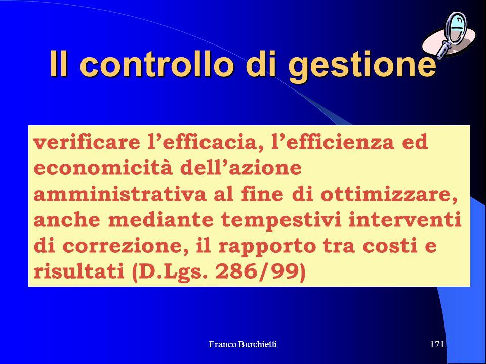 Franco Burchietti171 Il controllo di gestione verificare l'efficacia, l'efficienza ed economicità dell'azione amministrativa al fine di ottimizzare, a